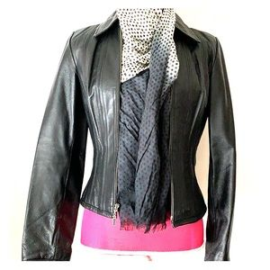 Leather fitted jacket